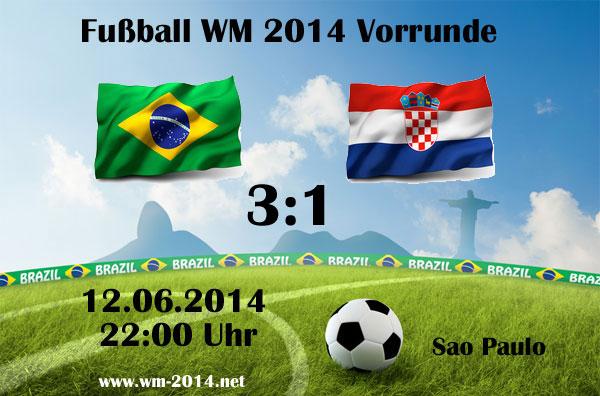 Fussball Ergebnisse & Tabelle WM 2014 vom 12.06. Gruppe A